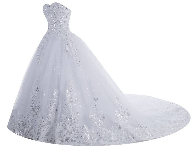 Dressystar Stunning white ball gown sweetheart strass in rilievo paillettes puffy tulle abito da sposa con cattedrale royal train