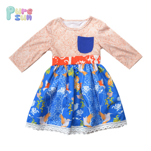 boutique royal long sleeve tunic ruffle pockets fall and winter girls dresses floral printed pattern lace border