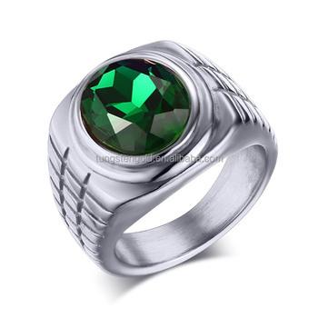Cheap Wholesale Men Custom Wedding Bands Big Green Stone Stainless