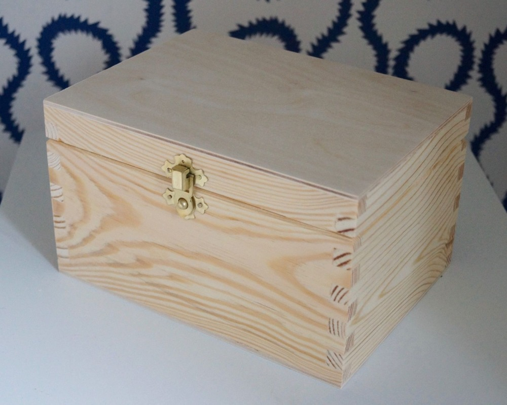 Wooden Box With Lid Decorative Clasp Storage Craft Decoupage Wood Box Crate  , Buy Unfinished Wood Boxes With Lids,Cardboard Storage Boxes With