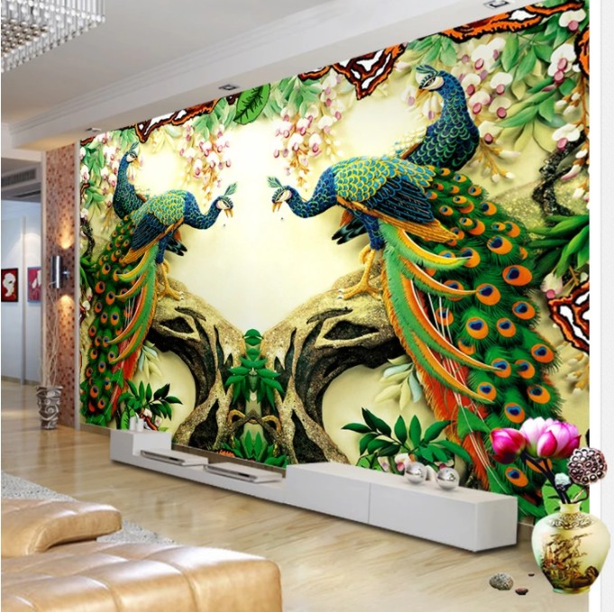 Beautiful 3d Peacock Designs Wall Mural Art Digital