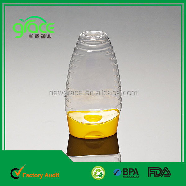 Empty and clear new product honey container up side down flip top cap squeeze bottle online shopping hot sale plastic jar