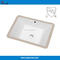 Rectangular undermount white porcelain bath vanity sinks