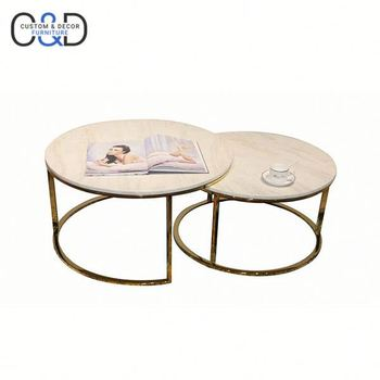 Stainless Steel Gold Fish Side Table Marble Top Round Coffee Table