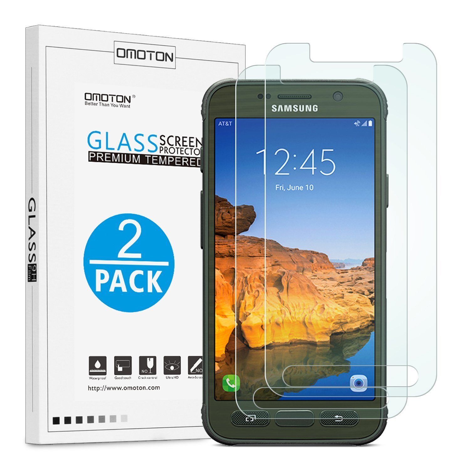 OMOTON ''Samsung Galaxy S7 Active'' Screen Protector [2 PACK], Tempered Glass Screen Protector for ''Galaxy S7 Active'' with [High Definition] [Bubble Free] [9H Hard], Not Fit for Galaxy S7, S7 Edge