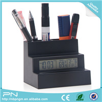 PS + ABS Material AAA Battery Office Organizer Pen Holder with Clock and Thermometer