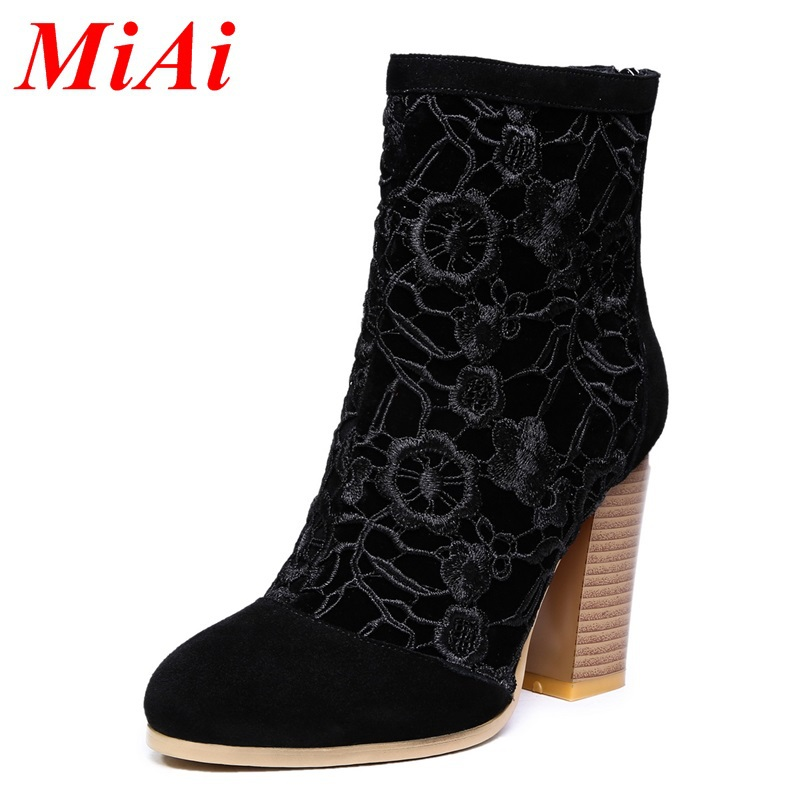 new winter fashion women boots 2015 leather Lace zipper wedding boots women high heels ankle boots black party boots woman 34-39