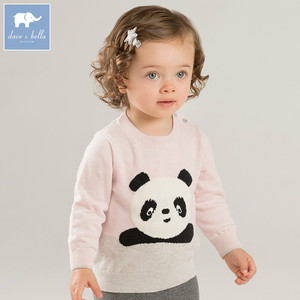 DB8970 Dave bella autumn 2018 baby boys girls wholesale price knitted sweater children long sleeve panda print pullover clothes