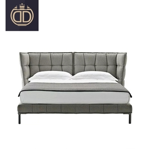 unique soft padded headboard concise modern fabric bed modern European high end modern light grey leather bed
