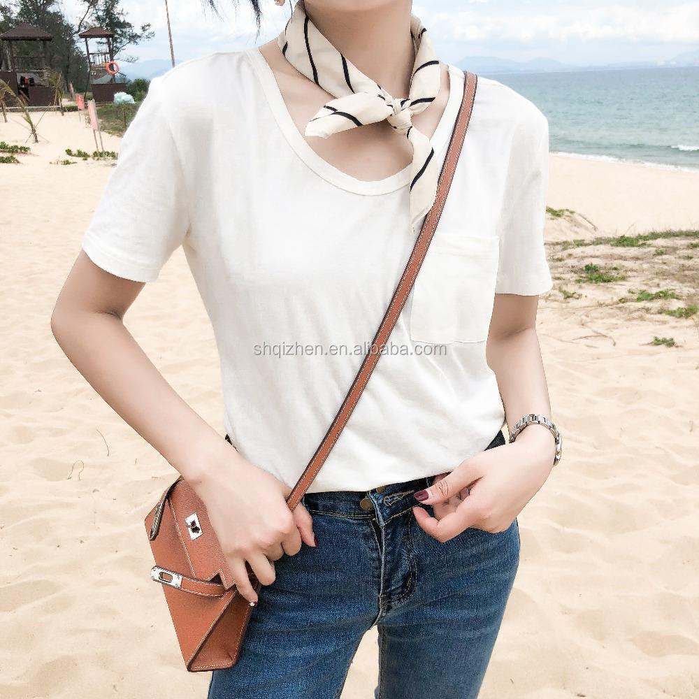 0a99b4d413 Nuevo modelo al por mayor buena calidad mujer ancho cuello de manga corta de  color sólido