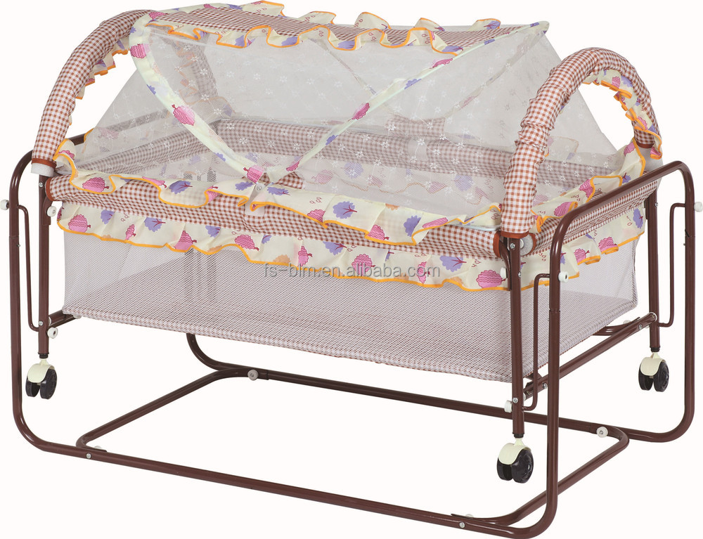 Hot Sale Simple Iron Frame Baby Bed Baby Crib Swing Bed
