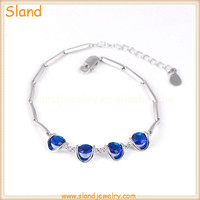 SLand Jewelry wholesale 4 blue crystal stones Sections linked design 925 Sterling Silver Sapphire Charm Bracelet for Women