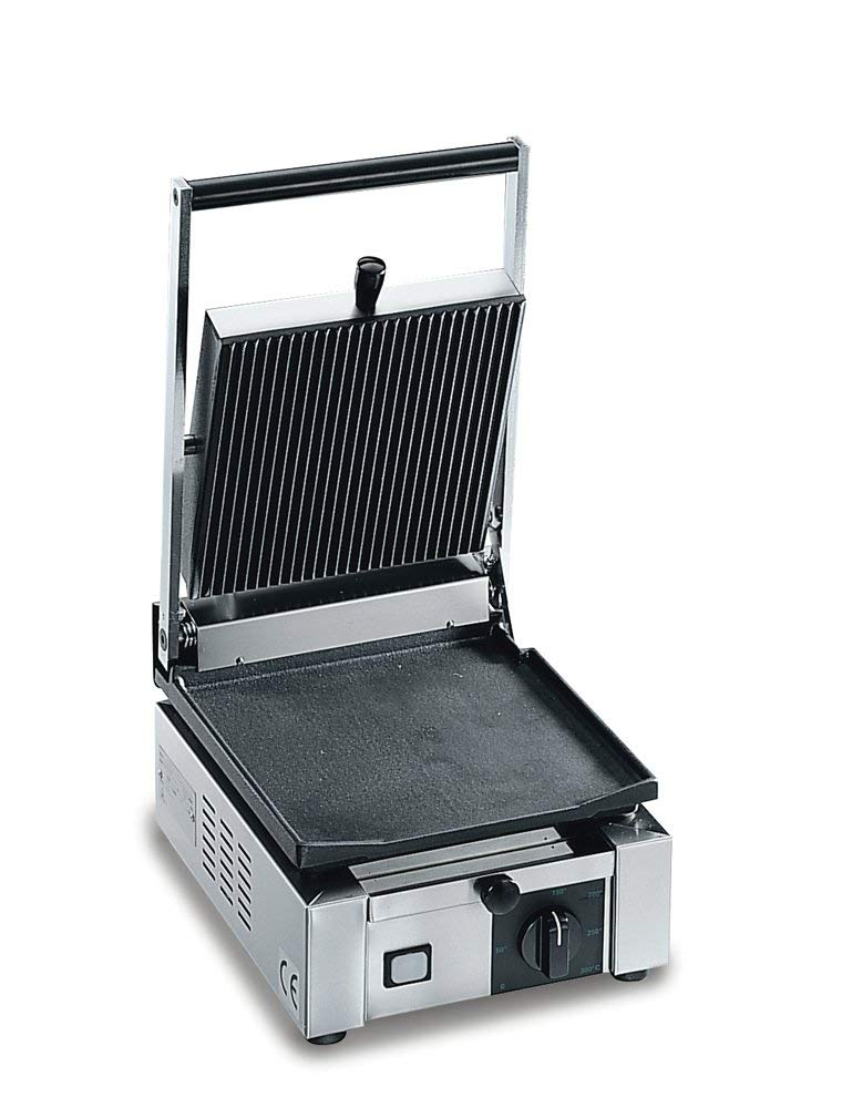 Sirman Small Commercial Panini Grill, Ribbed Top and Bottom