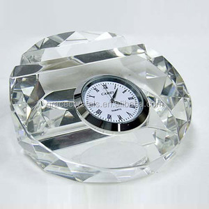 Multifunctional crystal clock crystal name card holder paperweight table clock round