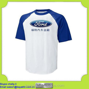high quality heat transfer printed blue reglan sleeves promotional t shirt for Ford