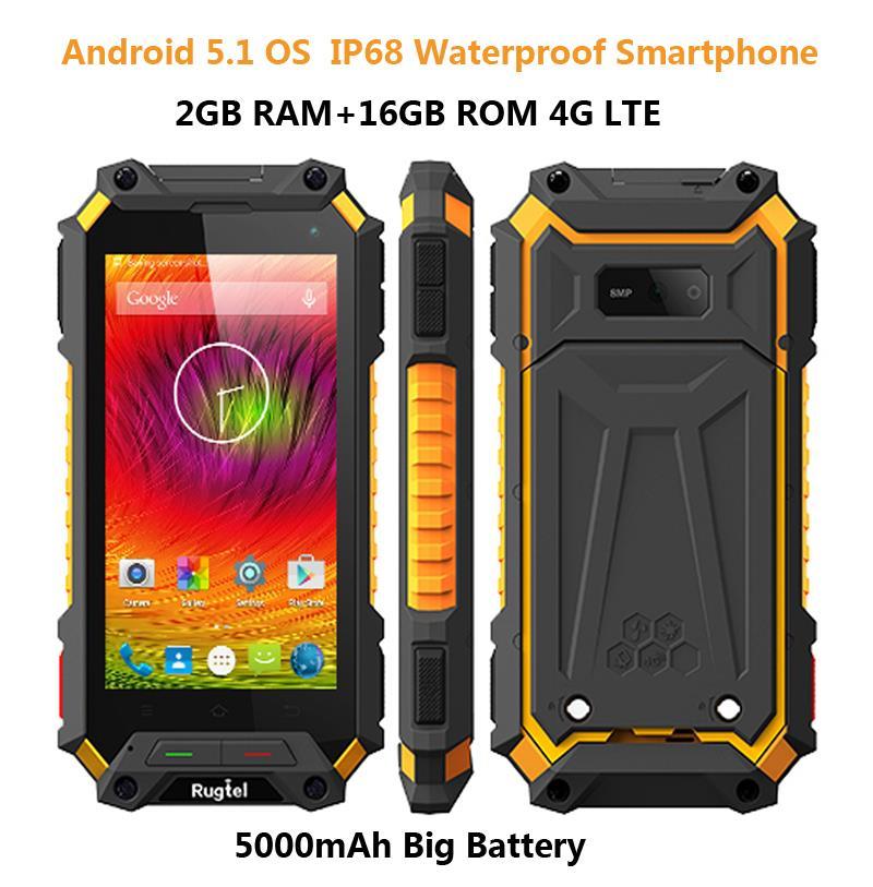 Unlocked cell phone 5000mAH RAMAndroid 5 1 Lollipop Rugged IP68 Waterproof  phone Quad Core 4G LTE Smartphone 2GB RAM SOS A9 5S