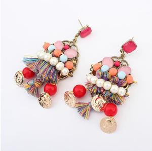 101388 Colorful indian pearl imitation jewelry rhinestone earring chandelier