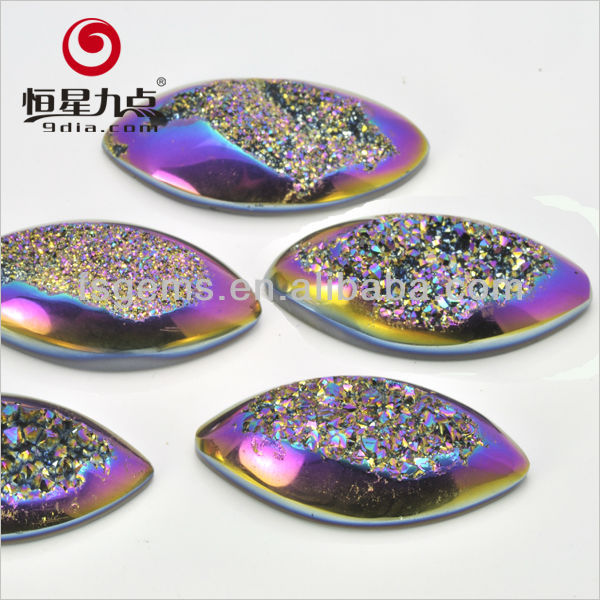 Wholesale Marquise Shape 12*6mm Magic Blue Color Natural Stone Window Agate Druzy Stone