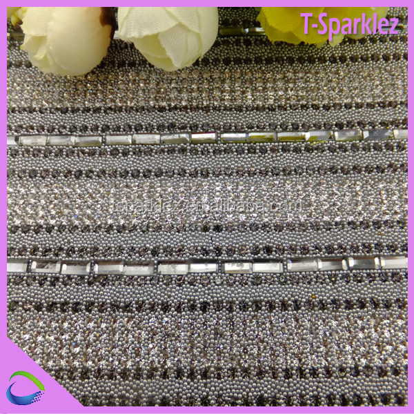 Crystal Beads Glass Stone Mesh Iron on Sheet Rhinestone Trimming Patches
