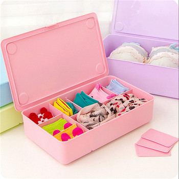 Plastic Underwear Clothes Storage Box Drawer Organizers Divided Cells