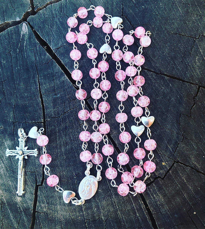 Pink Catholic Rosary. Pink Rosary. Pink Prayer Beads, Pink Rosary Beads. Pink Rosary Necklace. Femanine Rosary. Woman's Rosary. Womans Rosary. Hearts Rosary. Traditional Catholic Rosary.