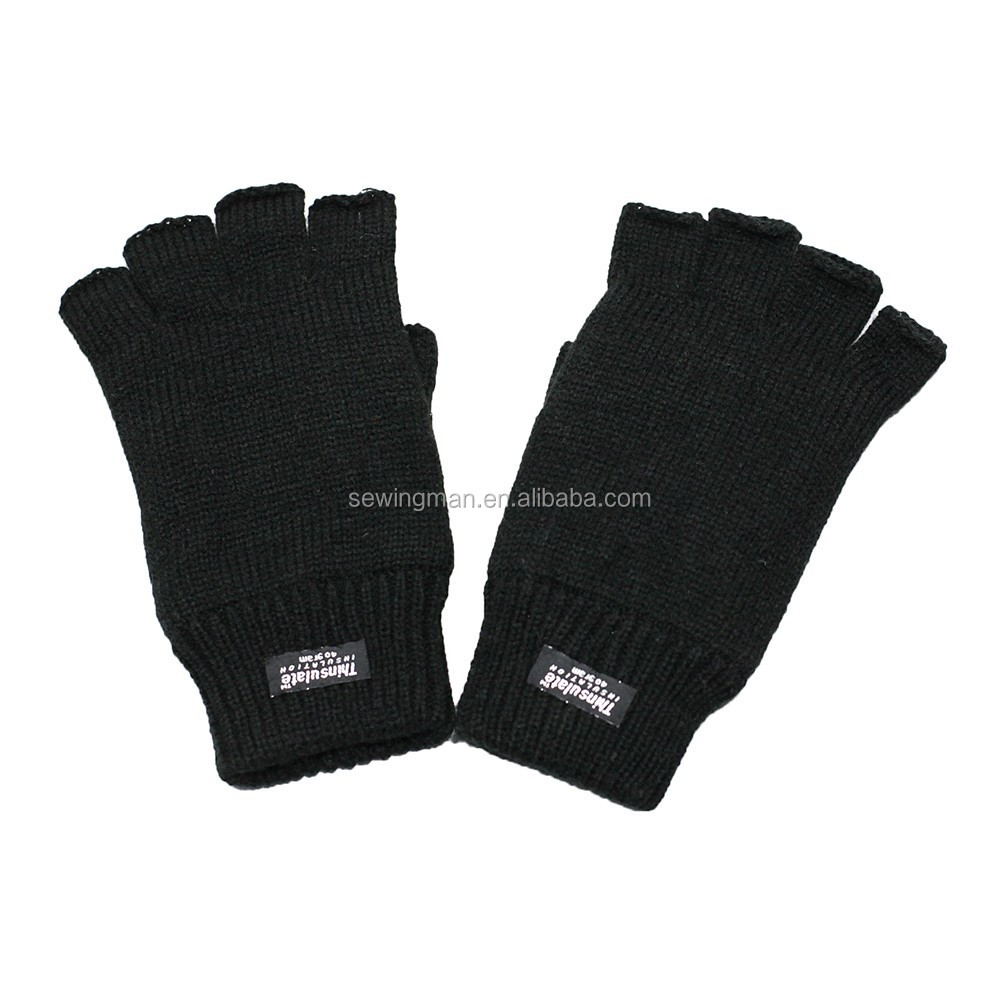 3M thinsulate men's acrylic knitting half fingers gloves