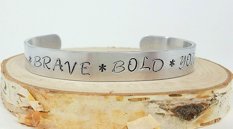 Brave Bold You Hand Stamped Aluminum Bangle Cuff Bracelet