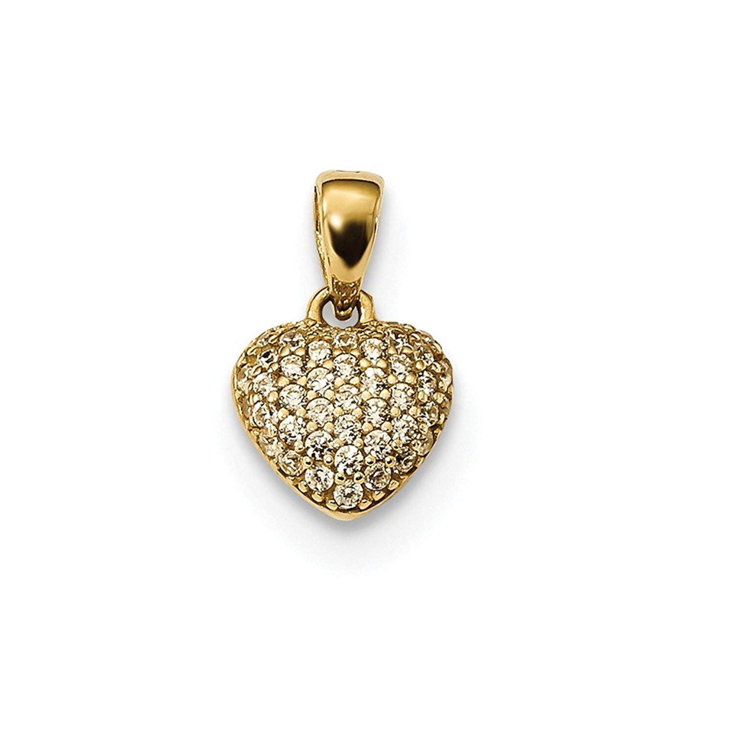 Clear CZ Puffed Heart Pendant Love Charm Pave Set Fashion 14K Yellow Gold