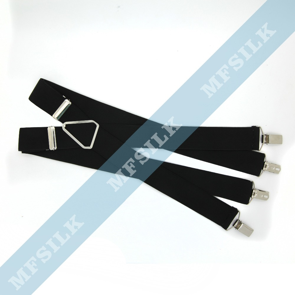 second layer cow leather brace with metal 6 clips men Suspenders for men