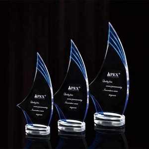 Customized Clear Acrylic crystal base design blank glass Lucite Trophy Awards