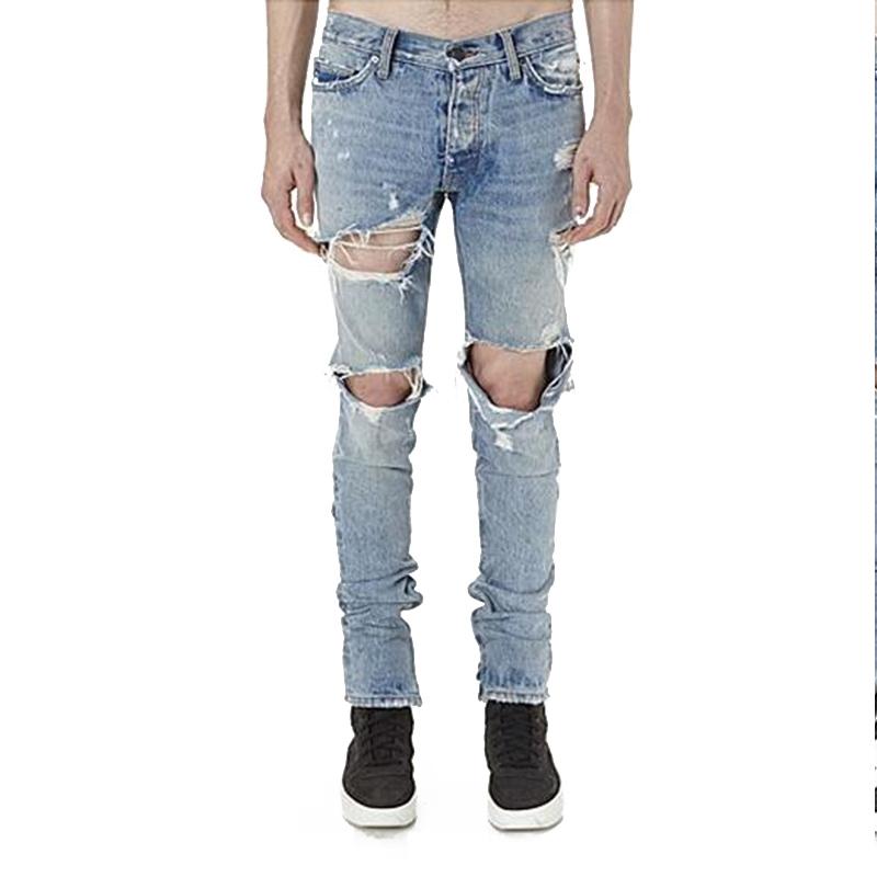 dd8091ce66800 Hi-Street Mens Ripped Jeans Pants Big Holes Brand Designer Destroyed Denim  Joggers Ankle Zipper Distressed Torn Jean Trousers