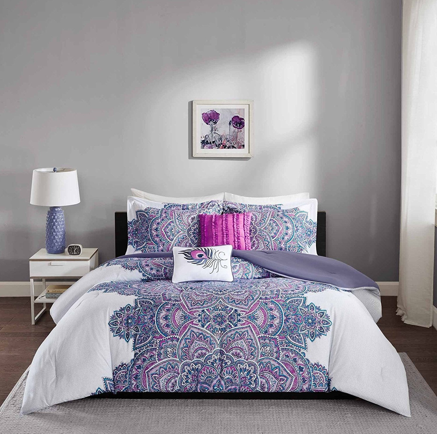 DOS 5pc Girls Medallion Floral Comforter Full Queen Set, Abstract Geometric Flowers Pattern, Mandala Motif Bedding, Pretty Flower Bohemian Boho Chic Themed, White Blue Purple