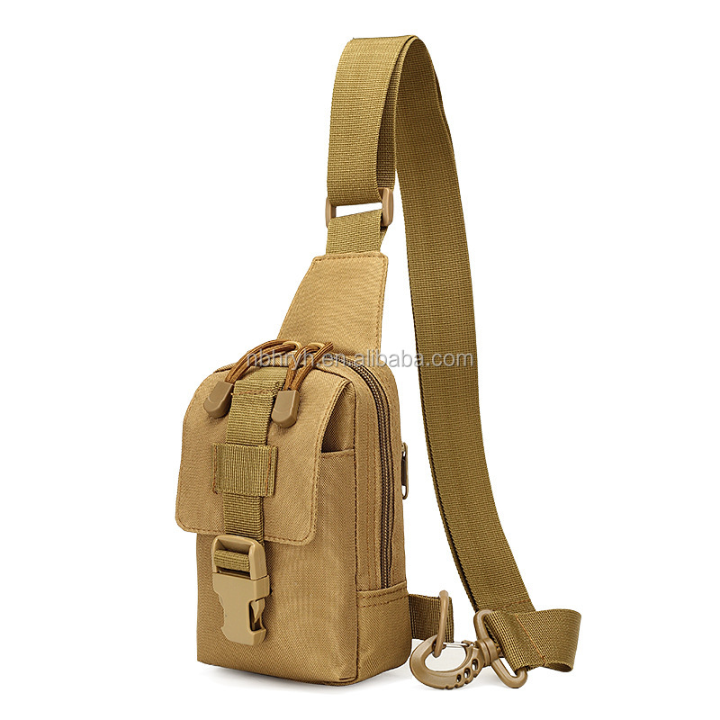 Single <strong>shoulder</strong> small chest pack outdoor sports riding <strong>shoulder</strong> chest hanging mobile phone bag camouflage tactical single should