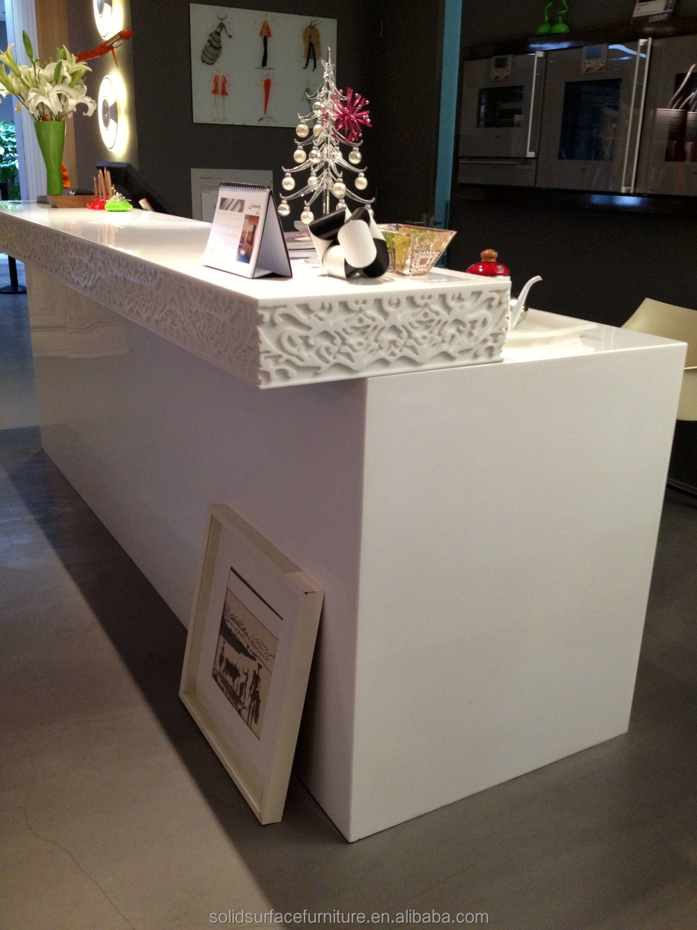 Modern Beauty Salon Reception Desks Curved Reception