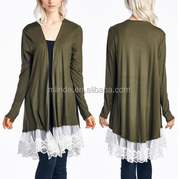 Women Nylon Spandex Stretch Blend Olive Lace Trim Open Cardigan 2017 New Arrival
