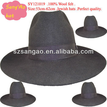 Wholesale Large Fashion Felt Jewish Black Hat Men Borsalino - Buy ... b31b67bba4c