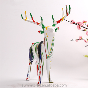 Home Decor Multicolor Resin White Large Animal Indoor Deer Statues