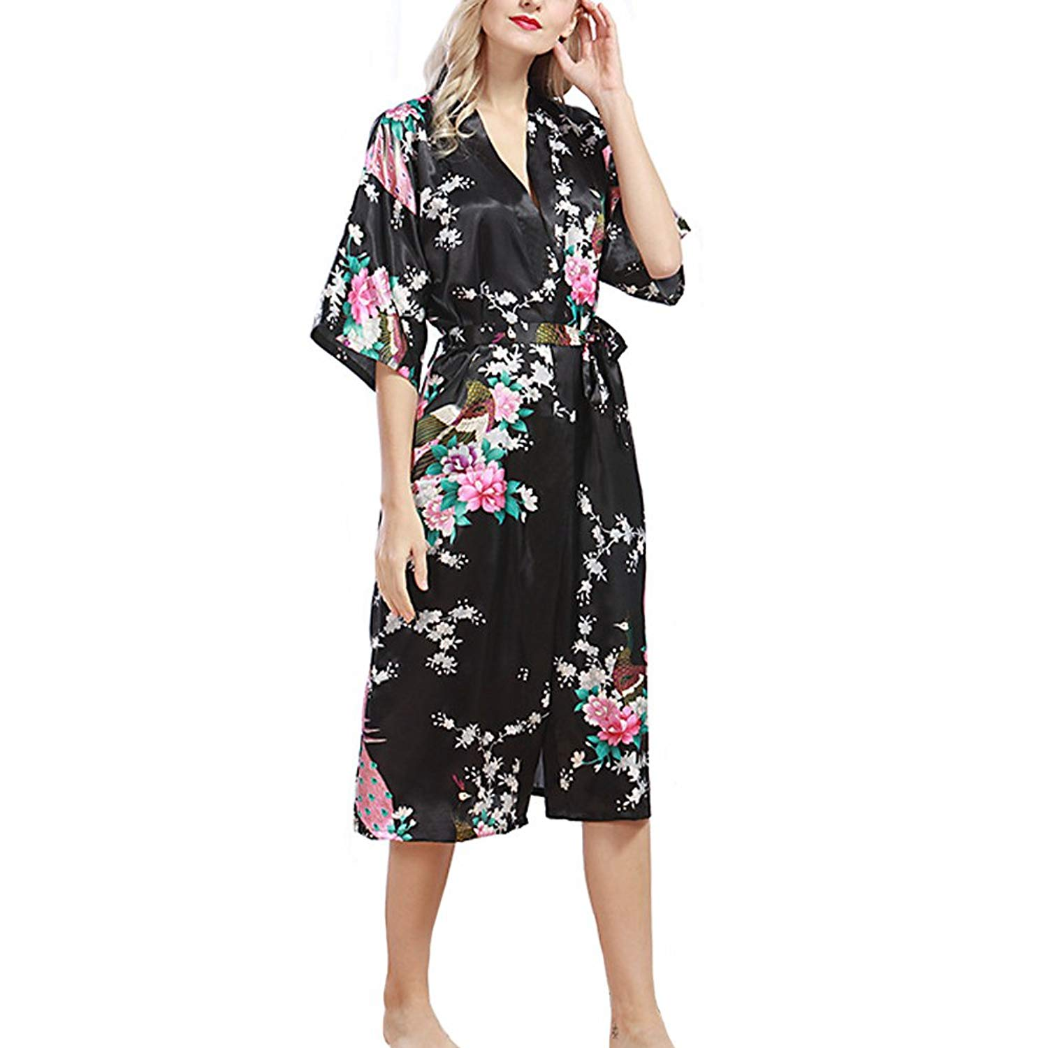 d5bd32b77c0 Get Quotations · SUITEASY Women Kimono Robe Soft Satin Nightwear Printed  Peacock Long Bridal Robe