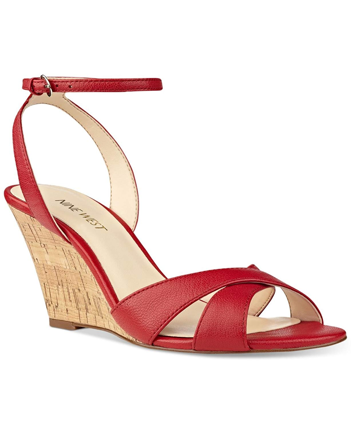 620041fcbe0 Get Quotations · Nine West Womens Kami Leather Open Toe Casual Platform  Wedges Sandals Red Leather Size 7 M