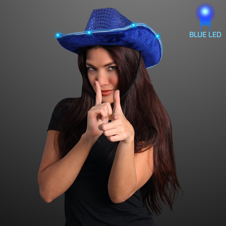 Blue Sequin Light Up LED Cowboy Hat