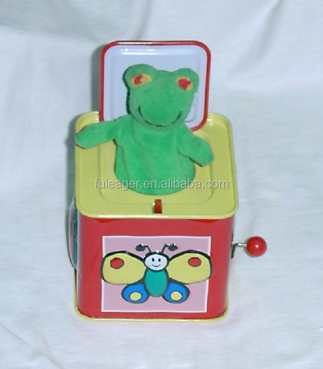 Christmas musical tin box, jack in the tin box,Frog musical tin box