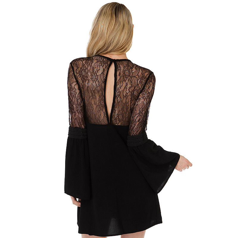 B11716A europea women long sleeve chiffon stitch lace black dress