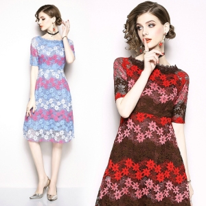 2019 OEM lace one-shoulder midi floral dress