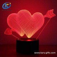 3D Desk Lamp Colorful LED Romantic Night Light Touch Control Decoration Lights For Christmas, Wedding, Valentine, Birthday Gift