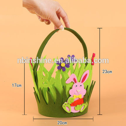 CU2724 Wholesale shaped felt easter basket for egg hunting , chick bunny felt easter basket