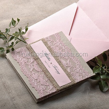 Pink Lace Pocket Style Wedding Invitation With Pearl