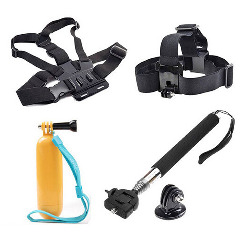Free Shipping!Accessories Set 6 In 1 Head Chest Strap Monopod Mount  For Gopro