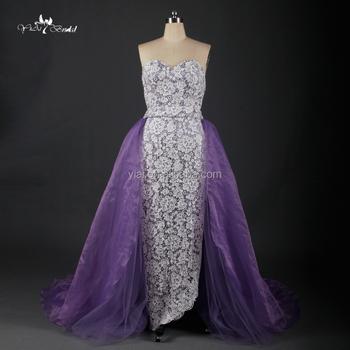 Rq124 Eropa Yang Elegan Ungu Ekor Besar Klasik Perempuan Bunga Gaun
