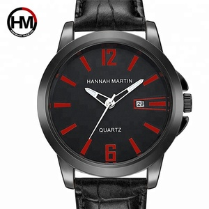 Hannah Martin European Style Men's Wristwatches Crocodile Pattern Leather Punk Casual Watch For Male Fashion Quartz Wrist Watch