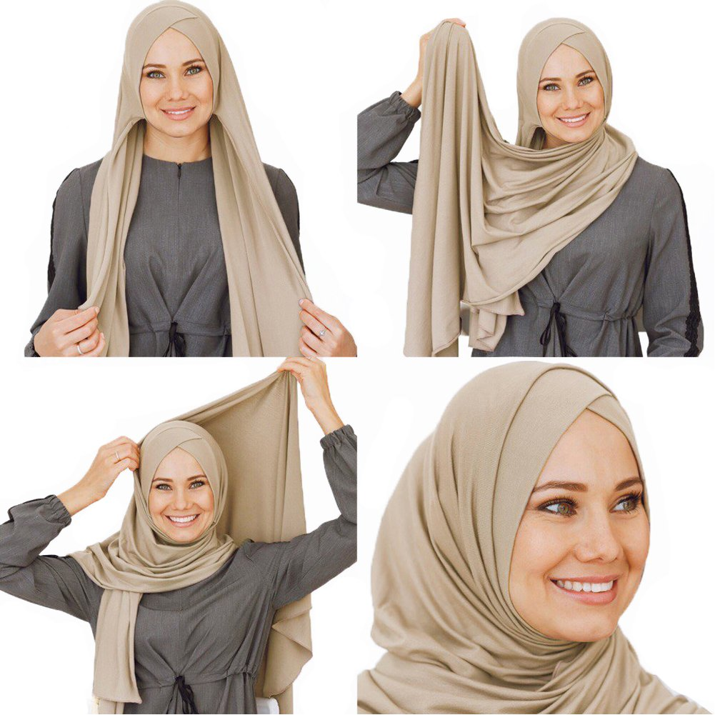 66361d880ad2 Get Quotations · Cotton head scarf, instant black hijab, ready to wear  muslim accessories for women